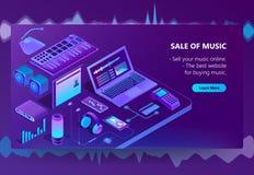 Local de comércio eletrônico isométrico do vetor 3d da música ilustração royalty free
