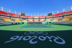 Local de encontro principal Maria Esther Bueno Court do tênis do Rio 2016 Jogos Olímpicos no centro olímpico do tênis Imagens de Stock