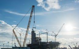 Local de funcionamento da refinaria da plataforma petrolífera da indústria da construção civil Fotografia de Stock