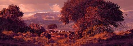 Local de pastagem com os carneiros que pastam Imagens de Stock Royalty Free