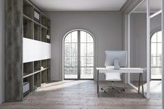Local de trabalho cinzento do escritório Imagens de Stock