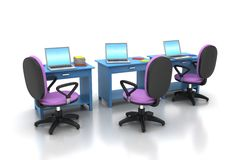 Local de trabalho com computador Fotografia de Stock Royalty Free