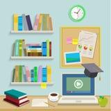 Local de trabalho com o computador para a educação em linha ilustração do vetor