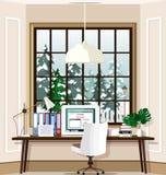 Local de trabalho contemporâneo da sala com o grandes janela e portátil na tabela em casa Grupo do interior da sala do escritório ilustração royalty free