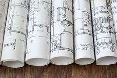 Local de trabalho do arquiteto Projeto arquitetónico, modelos, blueprin imagens de stock