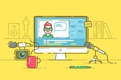 Local de trabalho do blogger ou editor video com monitor e relação do app para o processo de edição video Vetor Foto de Stock