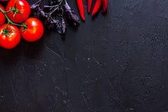 Local de trabalho do cozinheiro Tomate, peper, manjericão no copyspace preto da opinião superior do fundo da tabela Fotos de Stock
