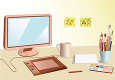 Local de trabalho do desenhador Imagens de Stock Royalty Free
