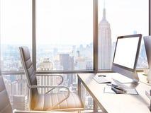 Local de trabalho do escritório com computador vazio ilustração royalty free