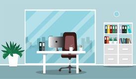 Local de trabalho do escritório e ilustração interior do escritório no estilo liso ilustração royalty free