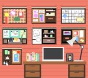 Local de trabalho do homem com o computador, a lâmpada, os livros e os muitos detalhes ilustração do vetor