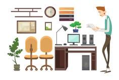 Local de trabalho interior do homem de negócio, gerente Office Worker do homem de negócios ilustração stock