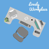 Local de trabalho liso do escritório Foto de Stock