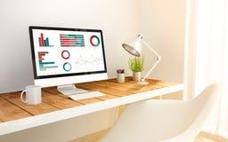 Local de trabalho minimalista e computador com finanças ilustração stock