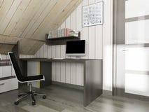 Local de trabalho moderno no interior da casa, rendição 3d imagens de stock