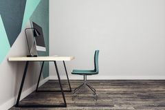 Local de trabalho moderno no lado interior Foto de Stock