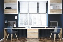 Local de trabalho moderno ou um interior do escritório domiciliário ilustração do vetor