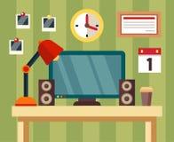 Local de trabalho no estilo liso escritório Imagem de Stock