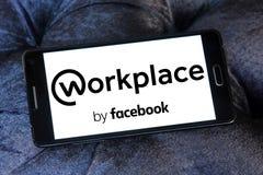 Local de trabalho pelo logotipo de Facebook Imagem de Stock