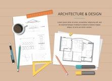 Local de trabalho - plano da casa do arquiteto do projeto de construção com ferramentas, e desenho da casa Fundo da construção ilustração do vetor