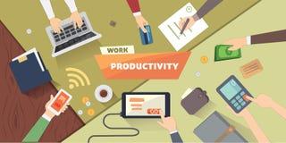 Local de trabalho produtivo do escritório Ilustração lisa da estratégia empresarial da produtividade Imagens de Stock Royalty Free