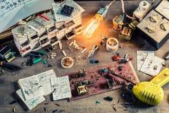 Local de trabalho velho da eletrônica no laboratório Imagem de Stock Royalty Free
