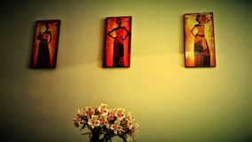 Local decoration. Handmade Wall art and flowers Stock Photo