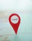 Local del localizador del mapa Fotos de archivo