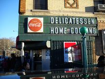 Local Delicatessen In Queens New York. Old fashioned Delicatessen located in Queens New York with signs stock photo