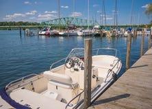 Local Detroit Marina. South Detroit river boat marina near Lake Erie royalty free stock photography