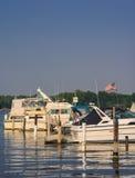 Local Detroit Marina. South Detroit river boat marina near Lake Erie stock images