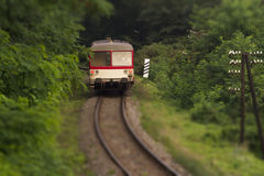 Local diesel train tilt shift photo Royalty Free Stock Image