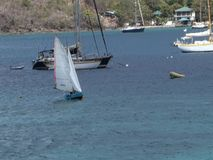 A local dinghy capsizing during a competition in the caribbean. A small craft battling a stiff breeze during the annual bequia easter regatta stock video footage