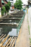 Local dirty canal be side of Thai community. Royalty Free Stock Photo