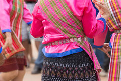 Local dress of female in Thai wax festival. Royalty Free Stock Photos