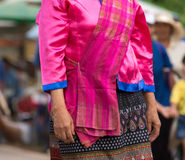 Local dress of female in Thai wax festival. Stock Images