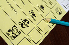 Local Election Ballot Paper. BASINGSTOKE, ENGLAND - MAY 14, 2014: Local election ballot paper for the Brighton Hill North ward of Basingstoke Council, Hampshire Stock Photo