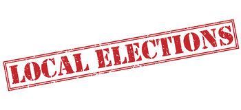 Local elections red stamp. Isolated on white background royalty free illustration