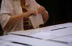 LOCAL ELECTIONS IN ROMANIA 2016. A person votes at a pooling center, during local elections, in Bucharest, Romania, Sunday, May 05, 2016 Royalty Free Stock Photography