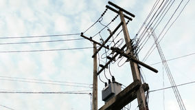 Local electric pole with have one transformers stock photo