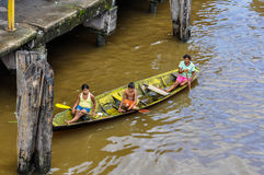 Local family on the Amazon River, Brazil Royalty Free Stock Image