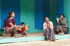 Local Family in Chin State, Myanmar Stock Photo