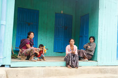 Local Family in Chin State, Myanmar Royalty Free Stock Image