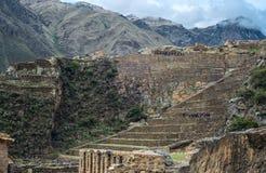 Local famoso do Inca de Ollantaytambo, Peru foto de stock royalty free
