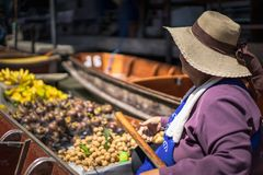 Local famous floating market Damnoen Saduak in Thailand stock photos