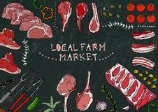 Local Farm Market. Meat Cuts - Beef, Pork, Lamb, Steak, Boneless Rump, Ribs Roast, Loin and Rib Chops. Tomato, Olives, Bell Pepper. Onion,Garlic, Herbs Fork Stock Image