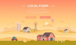 Local farm - modern flat design style vector illustration. On orange background with place for text. A countryside landscape with a field, barns, windmill Royalty Free Stock Photography