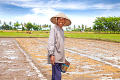 Local farmer sowing rice, Lombok Royalty Free Stock Image