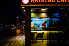 Local Fastfood Restaurant At Night. A local fast food restaurant which makes traditional Turkish meal at its night shift in a small summer town named Cinarcik Stock Photography