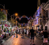 Local Feast at night. The whole village take the streets at night to celebrate during a traditional local feast Royalty Free Stock Photography